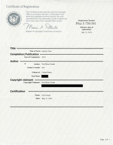 Example copyright certificate from a recent writing project.