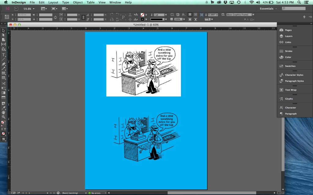 Line art saved as 300 DPI greyscale PSD above and 1200 DPI bitmap TIFF below. This is how they both naturally import into InDesign.